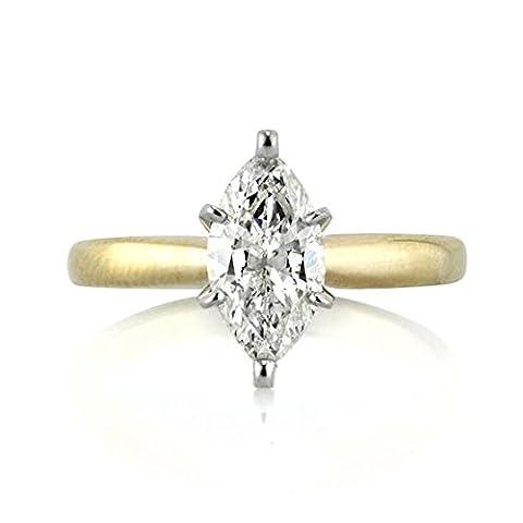 Forever Diamond - 14K White Gold 14 Karat Weißgold Marquiseschliff Hochfeines Weiß +/River (D) Diamant
