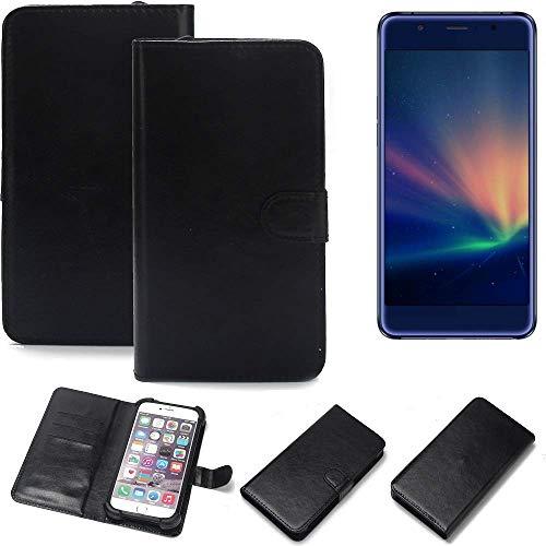 K-S-Trade Wallet Case Handyhülle für Hisense A2 Pro Schutz Hülle Smartphone Flip Cover Flipstyle Tasche Schutzhülle Flipcover Slim Bumper schwarz, 1x