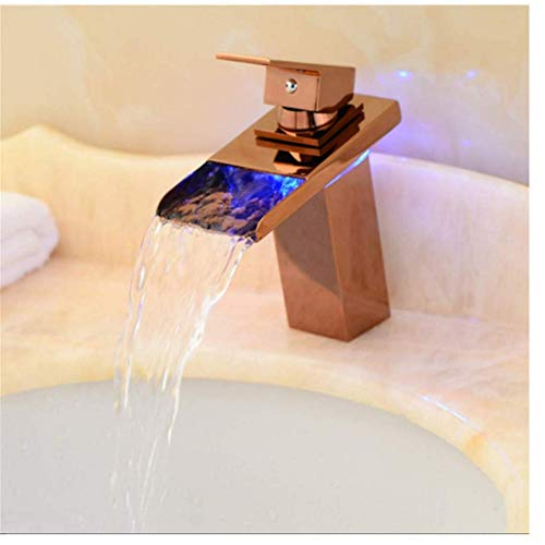 Edelstahlhahn Weiße Chrombadhahncopper Rose Gold Led Basin Hot And Cold Waterfall Mixing Valve Temperature Control Three Color Change Sink -