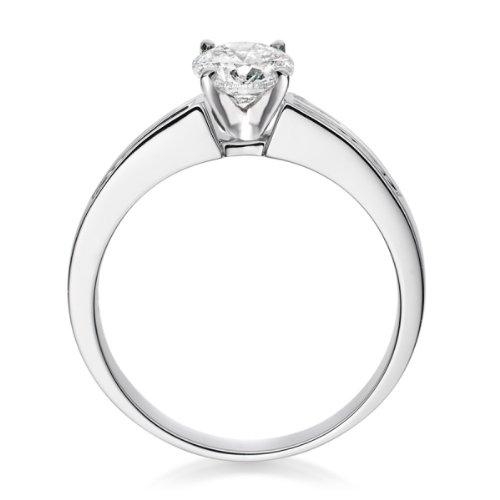Diamond Manufacturers, Damen Verlobungsring mit 0.73 Karat G/VS1 feinem und zertifiziertem Runddiamant in Platin - 3