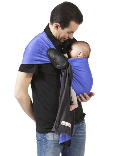 Je Porte Mon Bébé La Petite Echarpe sans Noeud - Sciarpa/fascia porta bebè, senza nodo, reversibile, colore: Grigio antracite/Iris
