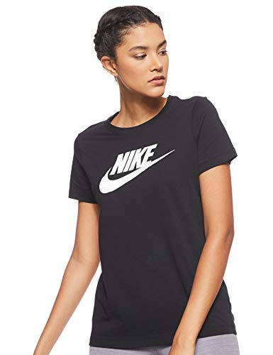 Nike Damen Sportswear Essential T-Shirt, Black/White, S