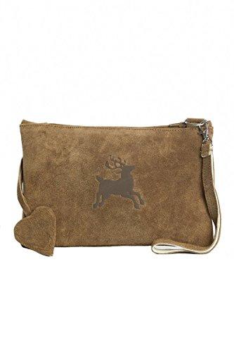 Unterarmtasche Clutch aus echtem braunem Wildleder mit braunem Hirsch im Landhausstil