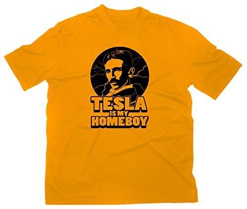 Nikola Tesla Is My Homeboy Fun T-Shirt Funshirt Elektrizität Elektrik Erfinder, XL, gelb