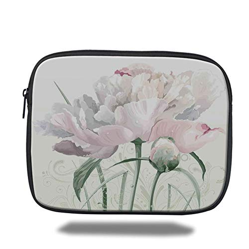 Tablet Bag for Ipad air 2/3/4/mini 9.7 inch,Flower Decor,Floral Pink Roses Tulips Abstract Leaves with Petals and Buds Detailed Print Image,White,3D Print - Pink Velvet Floral