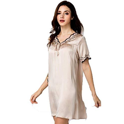 100 Seide lose Nachthemd Pyjama Reine Maulbeerseide Kimono Robe Kleid Dessous Bademantel Bademantel, Gold,XL -