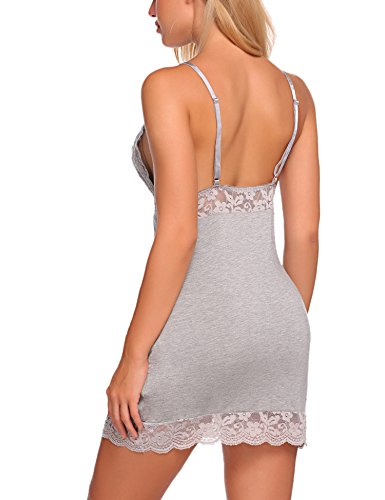ADOME Damen Negligee Träger Spitze Dekor Nachthemd Rückenfrei Nachtkleid Nachtwäsche kleider Babydoll Lingerie Sleepwear mit G-string Y-Grau