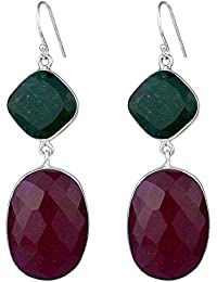 925 Sterling Silver Ruby & Emerald gemstone Earrings Jewelry 22.42 g c fashion stylish & classy ring design for girls and women by CrystalCraftIndia