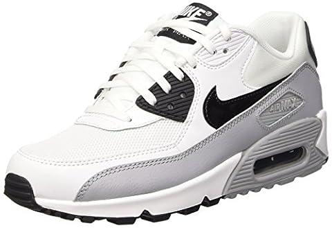 Nike Air Max 90 Essential, Chaussures de sport femme, Blanc (Blanc/Noir-Wolf Grey), 38