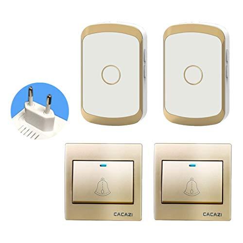 Sm sunnimix campanello per porte senza fili impermeabile protezione porta esterno accessori - 2 ricevitori + 2 trasmettitori