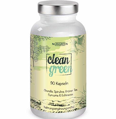 Clean Green - Chlorella und Spirulina - 90 Kapseln Monatskur - 100% pflanzlich vegan - Algen, Grüner Tee + Kurkuma - keine billigen Diät Pillen - Natürliche Inhaltsstoffe - Hergestellt In Deutschland