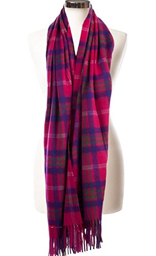 I Luv Ltd Cashmere Stole In Taransay-Pink Tartan Design 71cm Wide