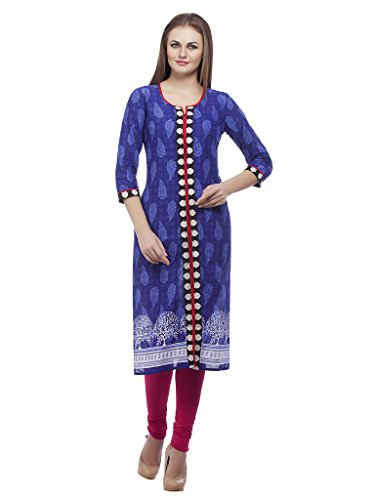 3/4 Sleeve Cotton Embroidered kurtis Blue Color