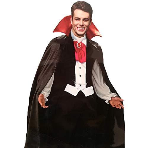 LEMON TREE SL Capa Negra Cuello Rojo Adulto Halloween