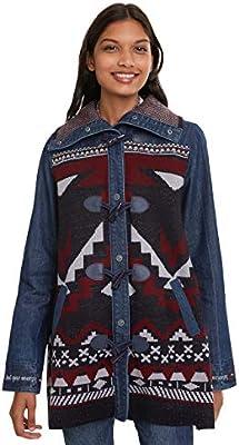 Desigual Coat NAVAI Abrigo, Azul (Denim Dark Blue 5008), 36 para Mujer