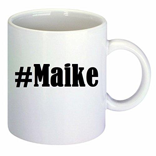 Kaffeetasse #Maike Hashtag Raute Keramik Höhe 9,5cm ? 8cm in Weiß