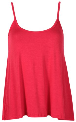 Purple Hanger - T-Shirt Haut Caraco Femme Bretelle Fine Encolure Arrondie Sans Manche Uni Neuf Rouge