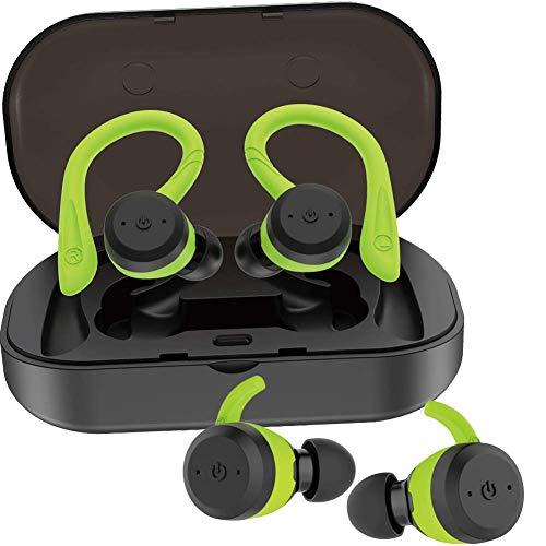 Auriculares Bluetooth Inalámbricos iPX7 Impermeable con Doble Ganchos para el Deporte Estéreo in Ear Bluetooth 5.0 Manos Libres con micrófono Dual Incorporado para iPhone Samsung Huawei (Verde)
