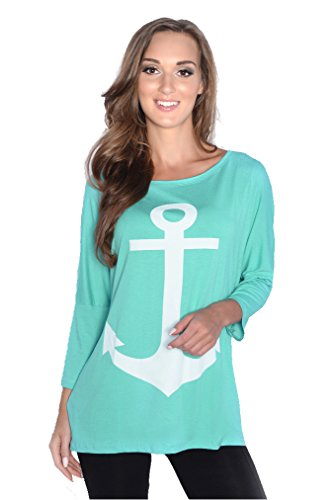 Damen Langarm Bluse Oberteil mit Anker-Motiv Gr. S M L XL 2XL 3XL, 8225 Mintgrün