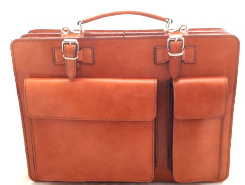 CTM Borsa Cartella color Cuoio Porta Documenti da Uomo, 38x29x11cm, Vera Pelle 100% Made in Italy