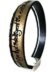 Area17 Gravur Lederarmband altgold metallic mit geflochtener Schnur und Magnetverschluss - mit Wunsch Gravur