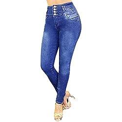 MORCHAN ❤ Femmes Jeans Taille Haute Skinny Denim Stretch Pantalons Slim Longueur Mollet Combinaisons Pantalon Court Collants Leggings Knickerbockers(M,Bleu foncé)