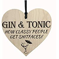 Red Ocean Gin & Tonic Classy People Novelty Wooden Hanging Heart Kitchen Alcohol Plaque