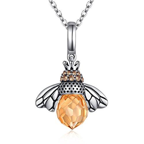 Bienenenkönigin Halskette mit Anhänger Sterlingsilber 925 Citrin Cubic Zirkonia verstellbar 40,6 cm, 43,2 cm, 45,7 - Queen Biene Für Erwachsene Kostüm