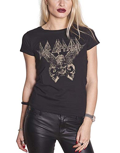 Custom Personality T-Shirt Def Leppard T Shirt Flying Skulls Band Womens Black Short Sleeve Summer Fashion Grils T-Shirt (Def Leppard Damen-t-shirt)