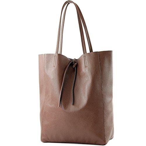 modamoda de - T163 - Ital. Shopper Schultertasche aus Leder, Farbe:Braun