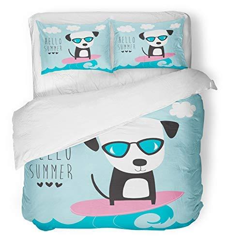 LnimioAOX 3 Stück gebürstetem Mikrofaser Stoff Bettbezug Set atmungsaktiv entzückende Bunte Sonnenbrille Hund Welpe Surf Ohren Sport entzückende Tier Baby Bettwäsche Set mit