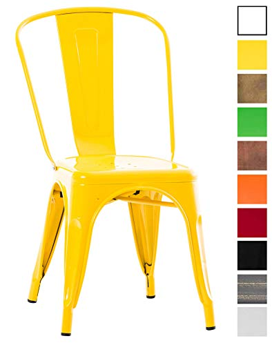 CLP Stapelbarer Metallstuhl BELGRAD mit hoher Rückenlehne und Bodenschonern l Stapelstuhl aus Metall in verschiedenen Farben Gelb -