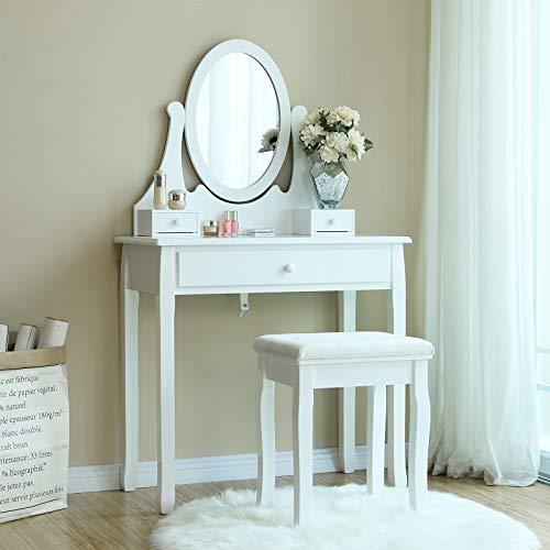 Songmics® Schminktisch Frisierkommode Frisiertisch Kosmetiktisch mit Spiegel inkl. Hocker, weiß, Holz, RDT002 - 2