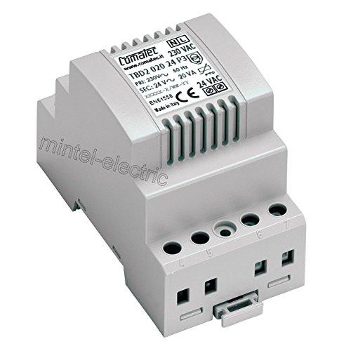 Comatec TBD202024P3 Transformator für DIN-Schienen, 230 V AC / 24 V AC / 20 VA