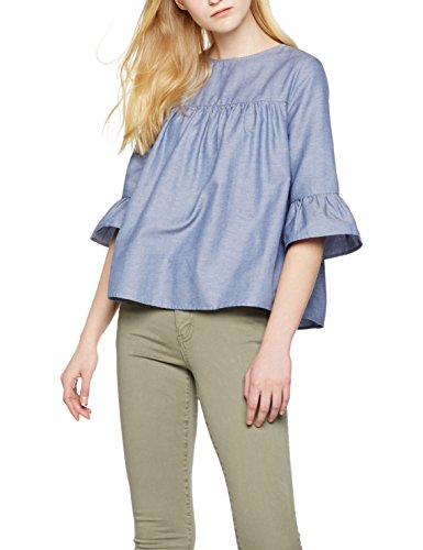 find-womens-chambray-ruffle-blouse-blue-x-large