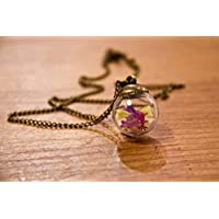 Collana donna in bicchiere - Fiori di Lavanda di mare - Piccolo globo 20mm - Idea regalo anniversario - Regalo di Natale - regali per lei - Black Friday