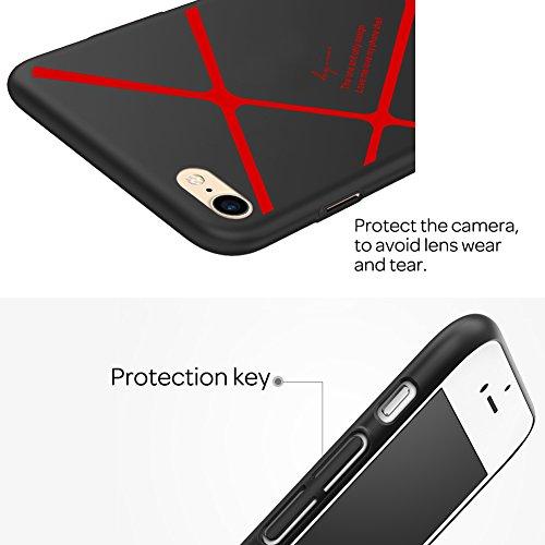 【Die neue verbesserte Version 】HX-415 iPhone 6 Hülle / iPhone Xfay 6S Hülle Glitzer /Schutzhülle iPhone 6 /6S Hülle ,iPhone 6 / 6S Hülle (4,7 Zoll), PC Streifenmuster rückdeckel Schutzhülle Bumper Cas Rote Streifen