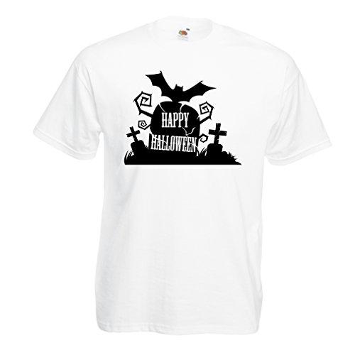 Männer T-Shirt Halloween-Friedhof - Kostüm-Ideen - Coole Kleidung Horror-Design - All Hallows 'Abend (Large Weiß Mehrfarben)
