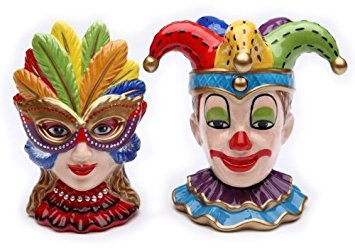 Salt and Pepper Set Venetian Mask by Cosmos Gifts - Crystal Salt Shaker