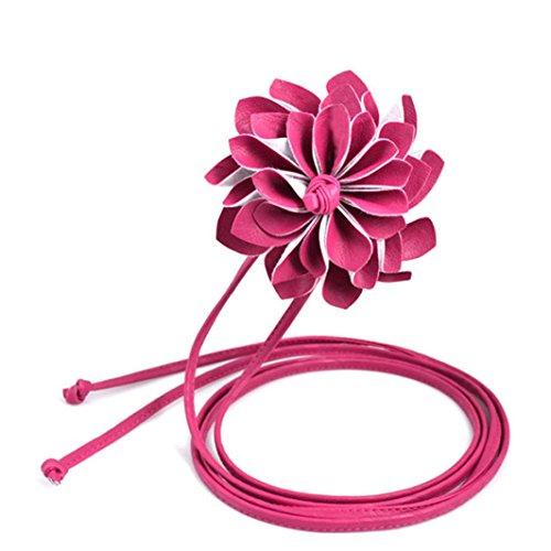 BZLine® Frauen Blume elastischen breiten Gürtel Böhmen Hüftgurt Taillengürtel (Hot Pink)