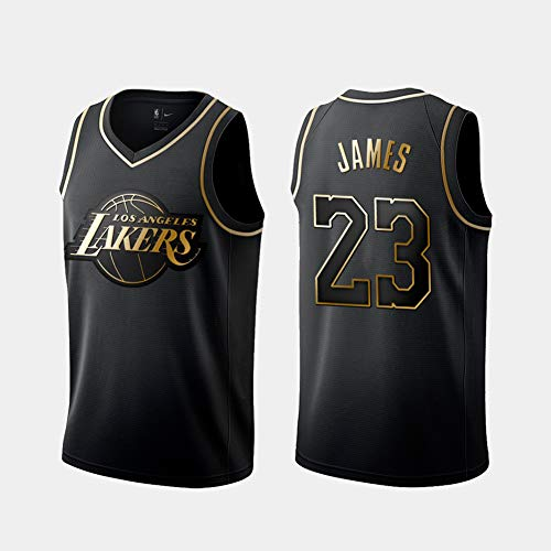 check out 8c61c a7d85 DCE Hombres Jersey Camiseta Lebron James # 23 Los Angeles Lakers Jersey  Swingman Cosido Camiseta de Baloncesto (Negro & Oro, S(44))