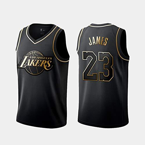 DCE Hombres Jersey Camiseta Lebron James # 23 Los Angeles Lakers Jersey Swingman Cosido Camiseta de Baloncesto (Negro & Oro, L(50))
