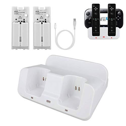 Wii U Ladestation für Wii Remote & Wii U Gamepad mit 2 wiederaufladbaren Akkus, Ladekabel, LED-Anzeige - Wii Zwei Controllern Mit