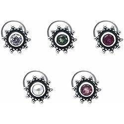 Shine jewel 925 silver multi stone cubic zirconia nose pins for women
