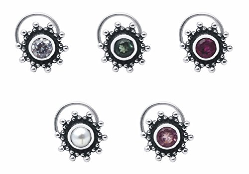 Shine jewel 925 silver multi stone cubic zirconia nose pins for women