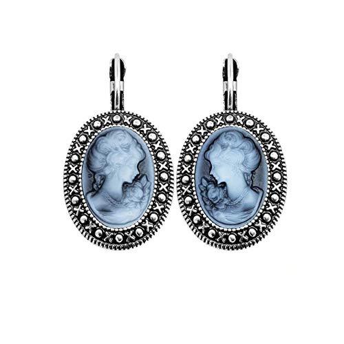 Ohrringe, Kamee, Sterling-Silber 925, Blau