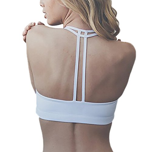iBaste Soutien Gorge de Sport Femme Sans Armatures avec Bretelles Fines Blanc