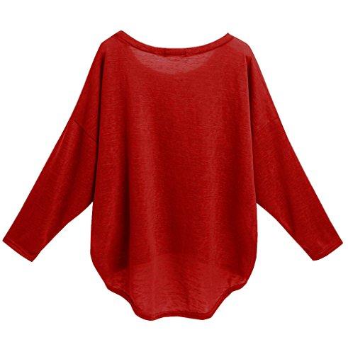 lymanchi Damen Langarm Oversized Baggy Shirt Asymmetrisch Lose Pullover Sweatshirt Top Rot