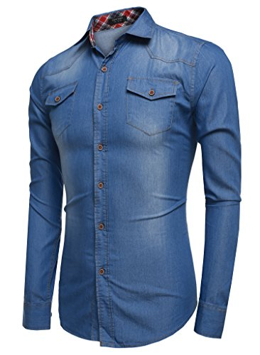 CRAVOG Mode Chemise Jean Homme Mince Manches Longues / Shirts Boutonné Slim Décontracté Sport Bleu clair