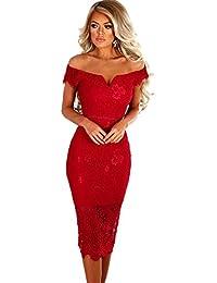199ee08c5 Taigood Vestido Elegante para Mujer de Encaje con lápiz Fuera del Hombro  Dulce corazón Encaje Bardot